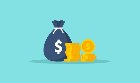 Money. Coins and banknotes. Cash money. Flat style Vector illustration