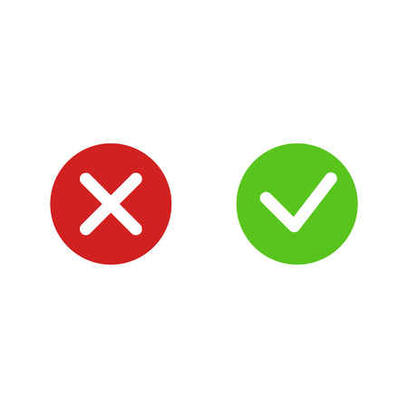 Approve and reject check marks. Isolated. Vector illustration