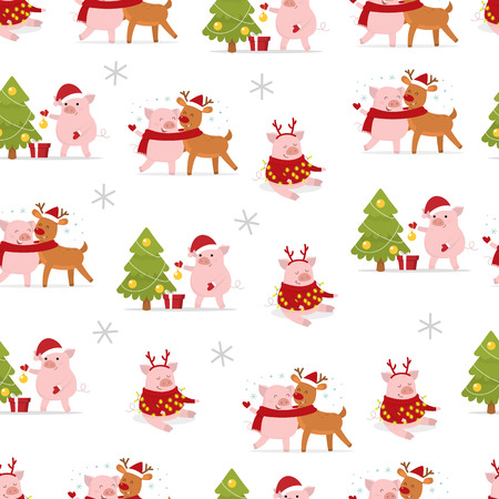 Merry Christmas and a Happy New Year 2019. Cute Christmas pigs. Seamless pattern. Vector illustration 일러스트