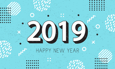 New Year 2019 Greeting Card design. Blue Memphis style background. Vector illustration