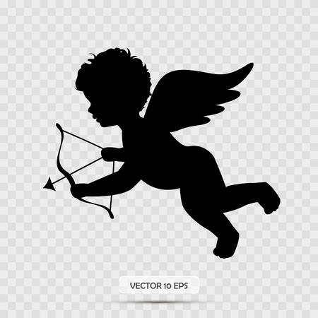 Silhouette of Cupid. Cupid holding arrow. Isolated on white. 일러스트