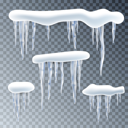 Snow, ice cup, icicles. Snowflakes background. Realistic transparent elements. Isolated.