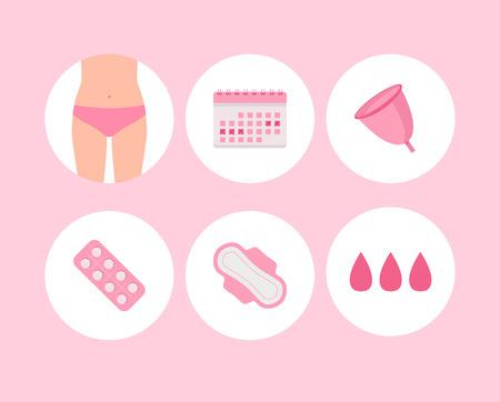Ikony okresu kobieta. Cykl menstruacyjny.
