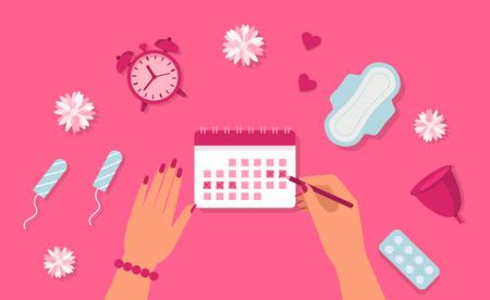 Menstruation concept. Woman hands, clock, pad, tampon, pills. Menstruation cycle.