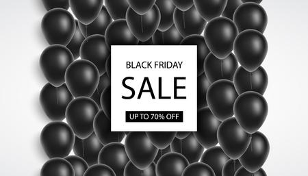 Black Friday sale. Black balloons, confetti. Black Friday banner. Vector illustration 일러스트