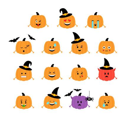 Pumpkins. Halloween funny emoticons. Isolated Vector illustration