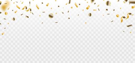 Confetti. Golden falling Confetti glitters. Isolated on white. Colorful bright confetti.