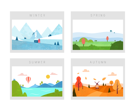 Quattro stagioni: scene invernali, primaverili, autunnali ed estive. Paesaggio della natura. Stile piatto minimale. Archivio Fotografico
