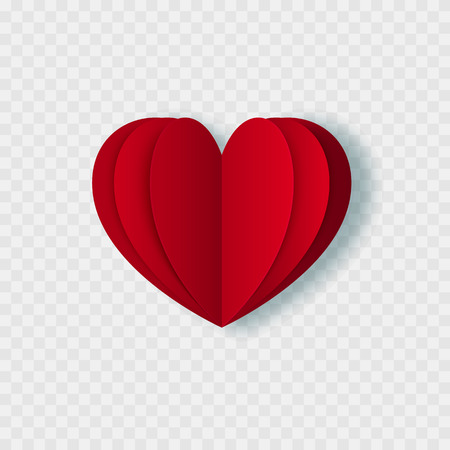 Love. Heart icon. Valentines day symbol. Paper cut. Isolated on white. 일러스트