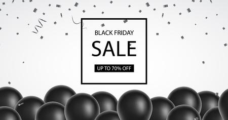 Black Friday sale. Black balloons, confetti. Black Friday banner. 일러스트