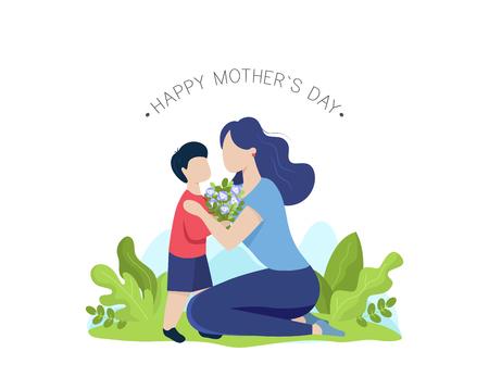 Madre e hijo con ramo de flores. Tarjeta de felicitación del día de las madres felices. Ilustración vectorial