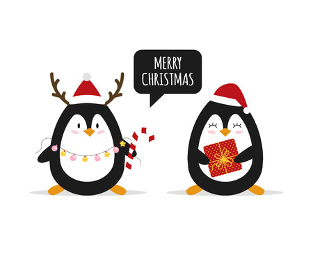 Christmas. Cute penguins with Christmas gifts. Happy animals. Vector illustration