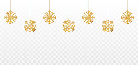 Snowflakes. Golden shining snowflakes with glitter. Christmas and New year decoration. Vector illustration