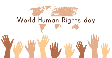 World Human rights day. 10 December. Hands up. Vector illustration 스톡 콘텐츠