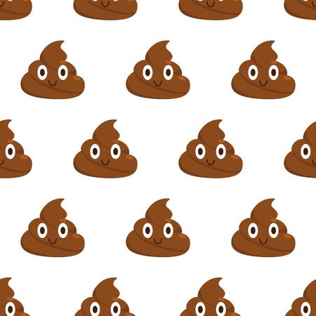 Poop. Seamless pattern. Cute smiling poop. Flat style Vector illustration