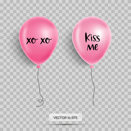 Valentines day balloons. Kiss me. Isolated Vector illustration