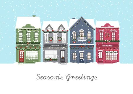 Cute Christmas houses. Winter village. Decorated Houses town. Season s Greetings. Vector illustration