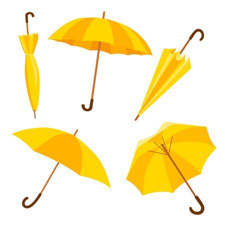 Conjunto de paraguas. Paraguas de otoño. Ilustración de Vector de iconos amarillos