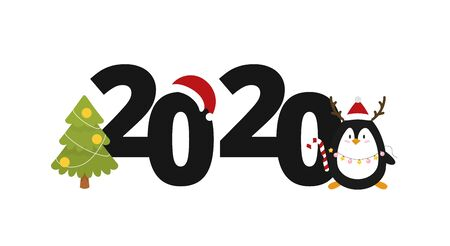 2020 New year greeting card design. Christmas tree and cute penguin. Vector illustration 스톡 콘텐츠 - 130369421