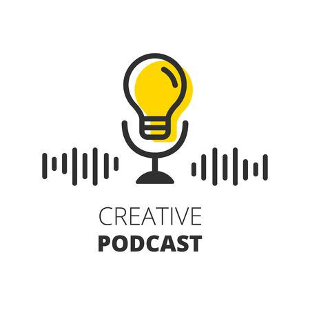 Creative podcast. Bulb lamp. Idea symbol Vector illustration