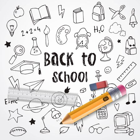 Back to School. Hand drawn doodles and realistic school supplies. Vector illustration Stock Illustratie