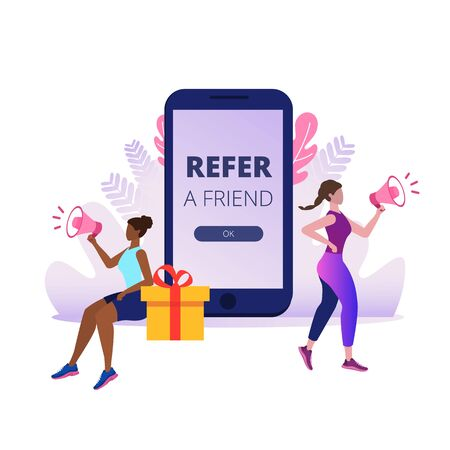 Refer a friend. Girls shout on megaphone about referral program. Vector illustration
