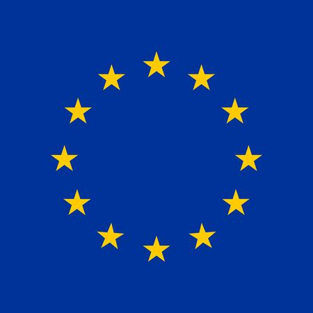 Europe flag. Stars Blue background. Vector illustration