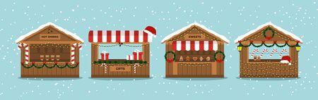 Puestos del mercado de Navidad. Stand de festival al aire libre. Quioscos. Quiosco de souvenirs. Ilustración de vector de invierno