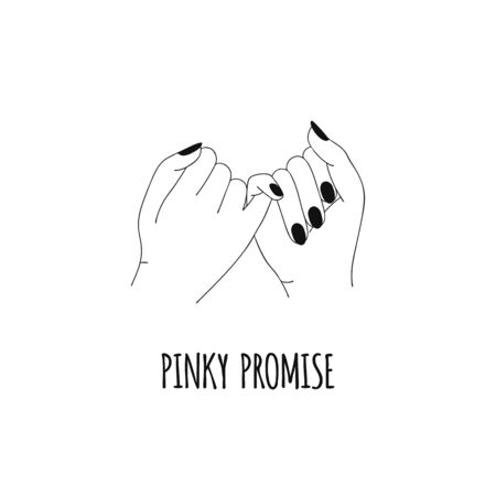 Pinky promise. Pinky swear. Hands. Outline line art Vector illustration
