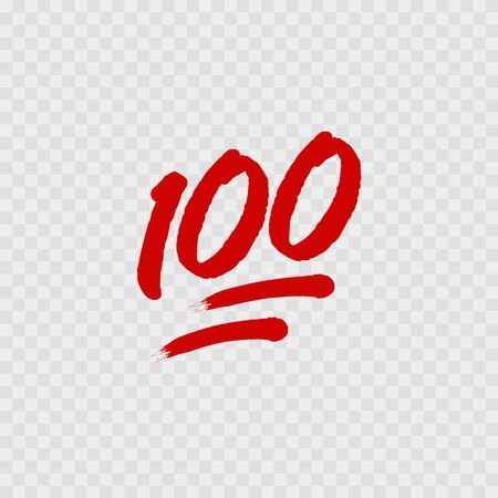 100 percent emoji. One hundred percent sign. Vector illustration