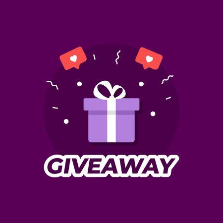 Giveaway violet background. Present box. Vector illustration