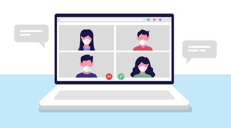 Online Conference Meeting. Remote workers, work from home. Team call. Vector illustration