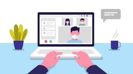 Conférence vidéo. Réunion en ligne. Travail à domicile. Quarantaine face au coronavirus. Illustration vectorielle