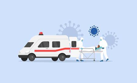 Coronavirus Covid 2019. First Aid. Ambulance. Medical staff Vector illustration