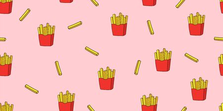 French fries seamless pattern. Fast food wallpaper texture. Vector illustration