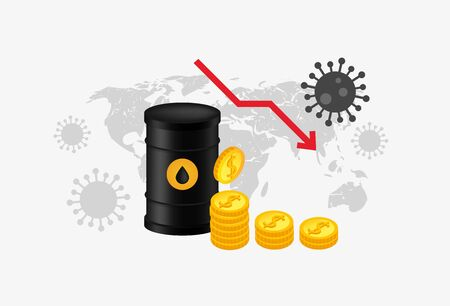 Oil industry world crisis 2020. Coronavirus finance crisis. Vector illustration