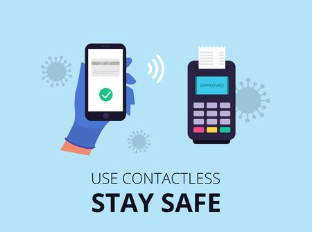 Use contactless paymant. Mobile paymant. Stay safe. Corona virus. Vector Stock Illustratie