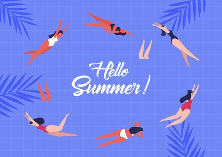 Hello summer. Women swimming. Pool party. Vector