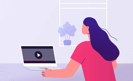 Woman watching video. Back view. Online education, work from home. Vector