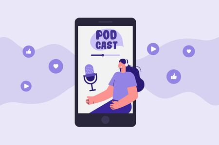 Podcast app illustration. Woman with headphones. Listen and record a podcast. Vector Stock Illustratie