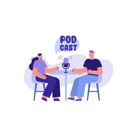 Podcast. People recording a podcast with a microphone. Vector illustration
