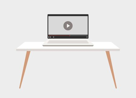 Laptop. Computer on the table. Video tutorial. Vector illustration