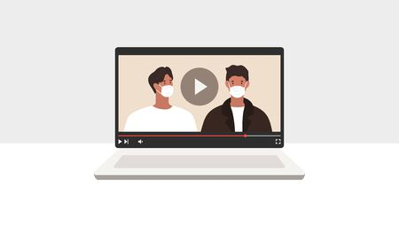 Video blog. People with medical masks. Bloggers. Vector illustration