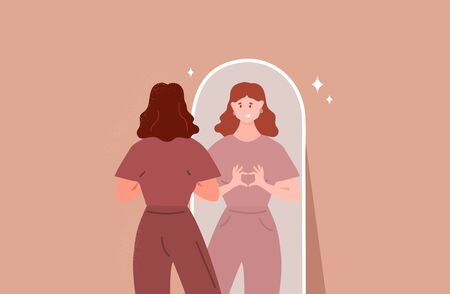 Young woman looking through the mirror and smiling. Self love. Love yourself. Vector Vektorgrafik