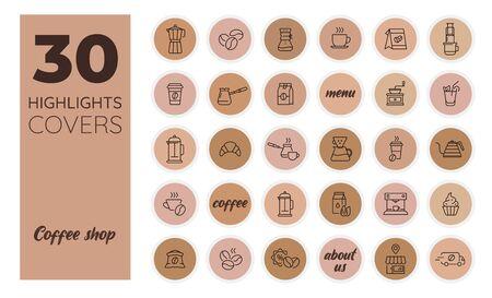Café. Couverture des médias sociaux Instagram Highlights. Icônes de café. Vecteur