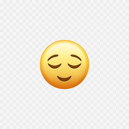 Happy emoji. Relax and meditation. Relieved emoji. Vector illustration Stock Illustratie
