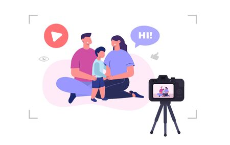 Family video blog. Mom, dad and son recording video. Vector illustration