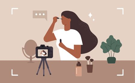 Beauty blogger. Make up influencer. Woman doing makeup and recording a video. Vector illustration