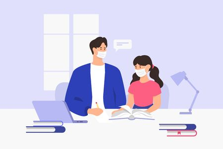 Dad and daughter doing homework. Coronavirus quarantine. Home schooling. Vector illustration Vettoriali