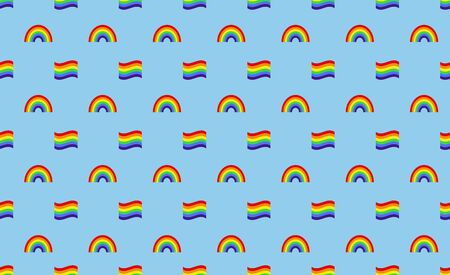 LGBT background seamless pattern. Rainbow and LGBT flags. Vector illustration